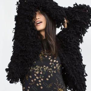 Zara shaggy open front jacket